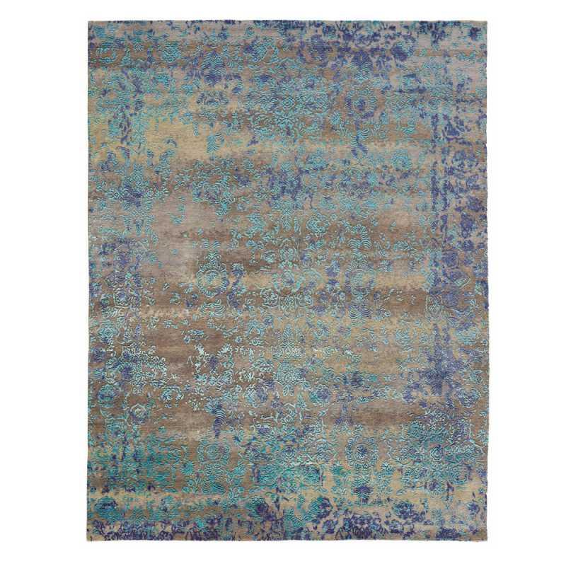 tapis sur mesure bleu en laine et soie de bambou heritage par angelo