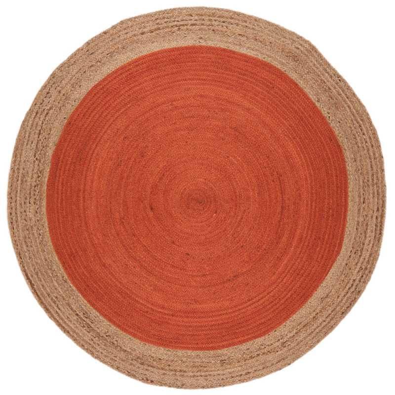 tapis rond orange a contour beige en jute tisse a la main