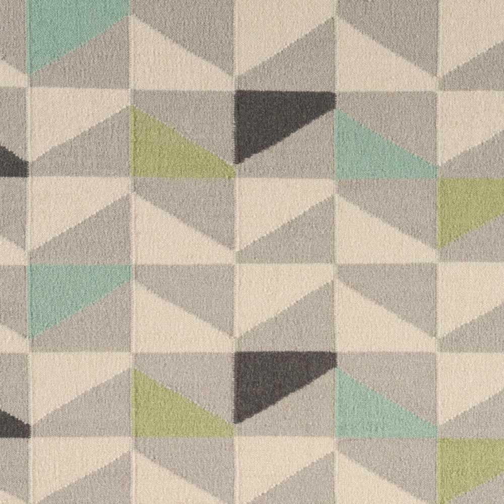 tapis moderne en laine tisse main gris vert et bleu type kilim