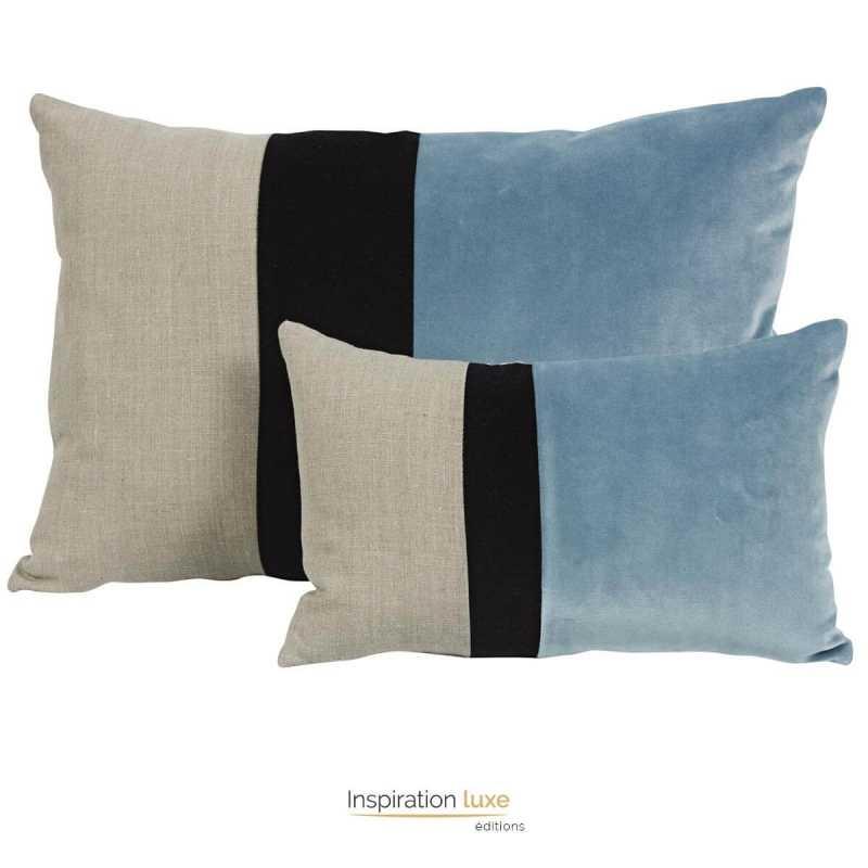 coussin design rectangulaire tricolore beige noir et bleu glacier 2 tailles disponibles