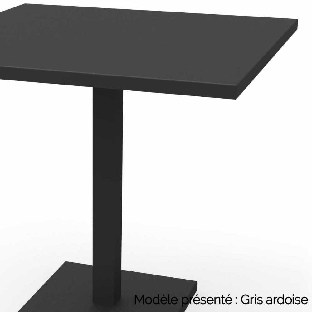 table carree pied central en acier personnalisable d interieur et d exterieur