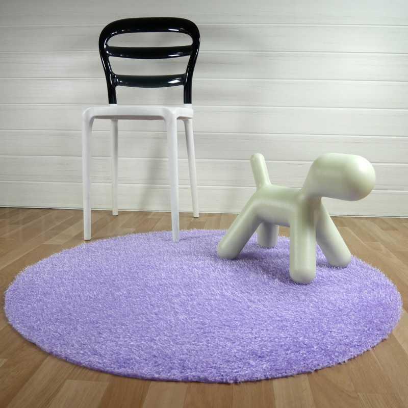 tapis rond lavable en machine violet ideal pour salle de bain de diametre 100 cm