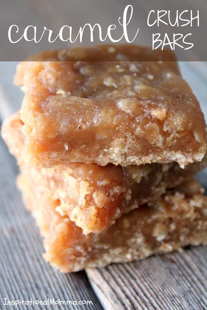This exquisite dessert will melt in your mouth and leave you begging for more! I bet you can't eat just one! #inspirationalmomma # caramelcrushbars #dessert #desserts #bars #caramel #baking #bake