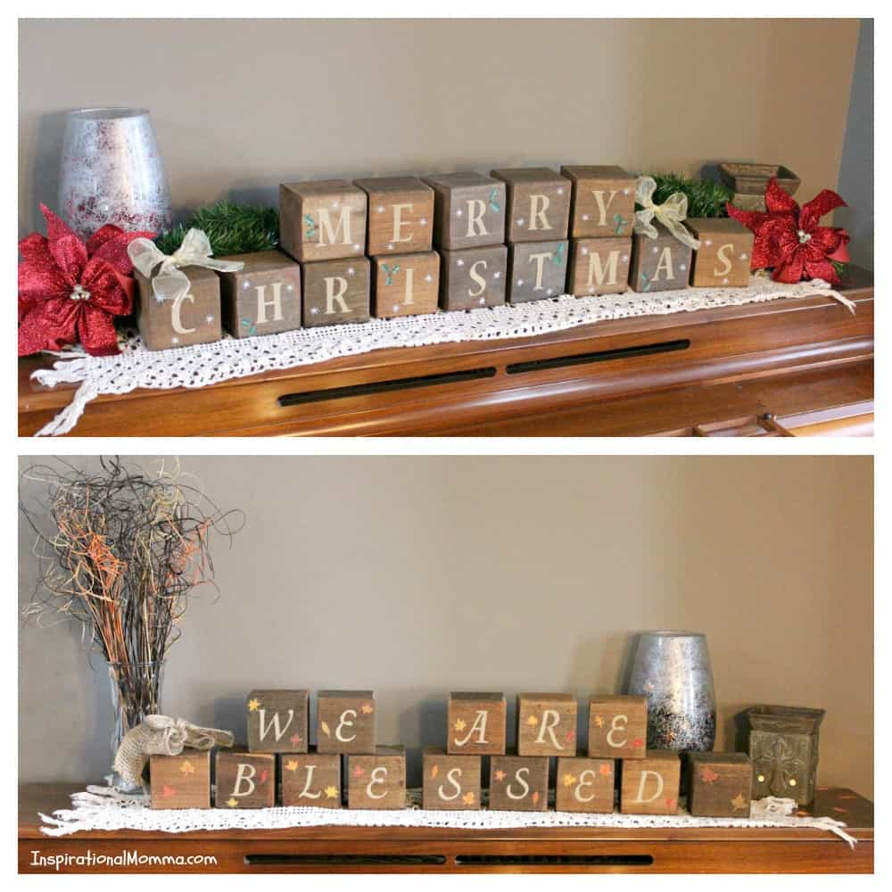 These DIY Reversible Thanksgiving/Christmas Blocks are made from recycled wood and create a warm Thanksgiving and Christmas display for your home.