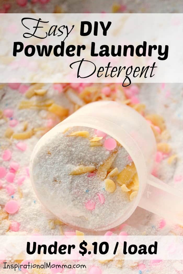 This homemade Easy DIY Powder Laundry Detergent will not only leave your laundry clean and fresh
