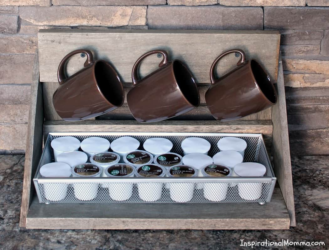 Make your own DIY Mug Rack with K-Cup Storage! A beautiful addition to your kitchen that serves a great purpose for all of us coffee lovers!