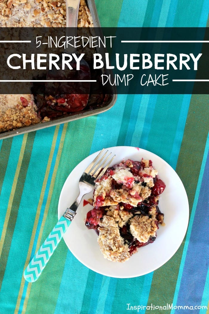 5-Ingredient Cherry Blueberry Dump Cake can be put together in minutes but tastes like it took all day! Simple, sweet, and sensational, you must try it!