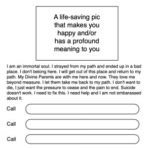 Suicide Emergency Card