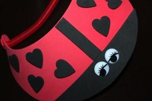 Ladybug visor with black heart spots
