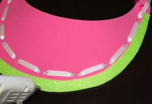 Adding Lime Green Felt to Visor