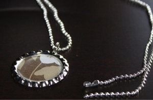 Bottle Cap Necklace with Shiny Silver Chain