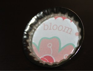 Bottle Cap with Tie Tack for Pin