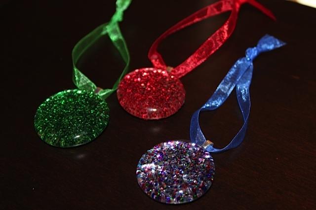 Glitter Gem Ornaments with Sheer Ribbon