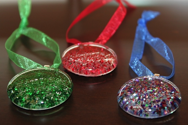 Glitter Gem Ornaments with Sheer Ribbon
