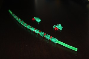 green chenille stem with all beads strung