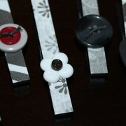 Black Clothespin Magnets with Button Embellishments