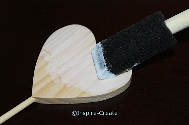 cover wood heart with mod podge