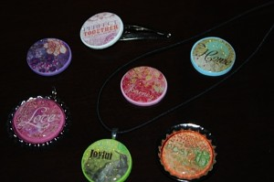 Sparkle magnets, necklaces, bottle caps, and hair accessories
