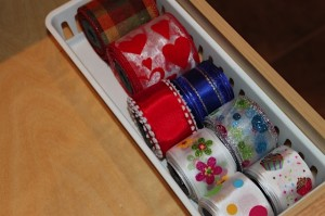 wire ribbon bin in drawer
