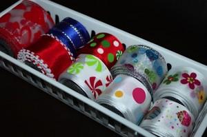 all wire ribbon in small white bin