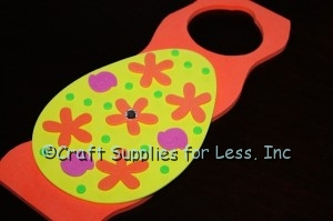 crystal rhinestone added to center of foam orange flower shape