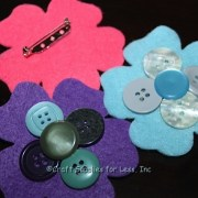 Felt Flower Pins with Craft Buttons
