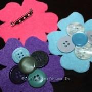 Felt Flower Pins with Craft Buttons
