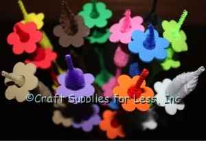 Foam Flower Shapes on matching Bump Chenille Stems