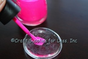 Add Pink Polish to back of Clear Glass Gem