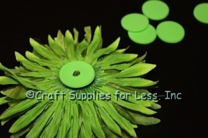 attach foam circle to back of flower