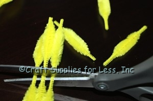 Cutting bump chenille stems in the thinnest part of chenille