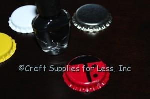 Add black dots to ladybug magnet
