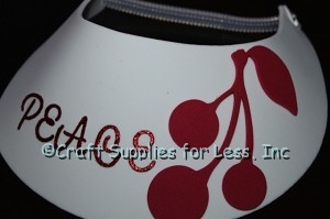 add bunch of cherries to foam visor with glue dots