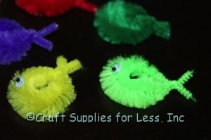 chenille stem fish with wiggle eyes added