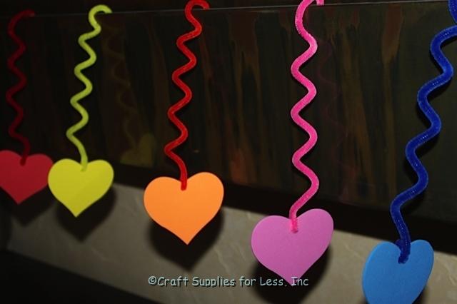 Foam Hearts Hanging on Twist Chenille Stems