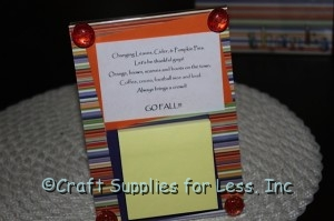 fall frame with glass gems, poem and post it notes