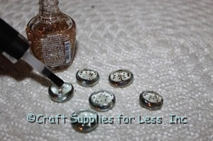 paint clear glass gems with glitter polish