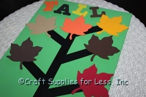 Thankful tree with foam maple leaves