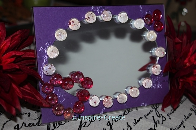 Acrylic Frame, Oval Mirror, & Glass Gems