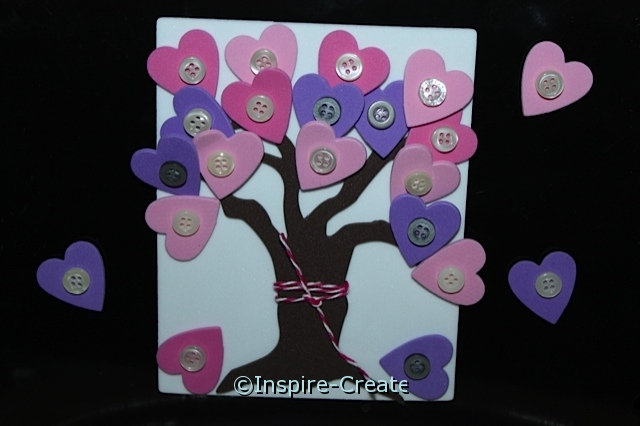 Adorable Heart Tree w/ Hearts & Buttons as leaves