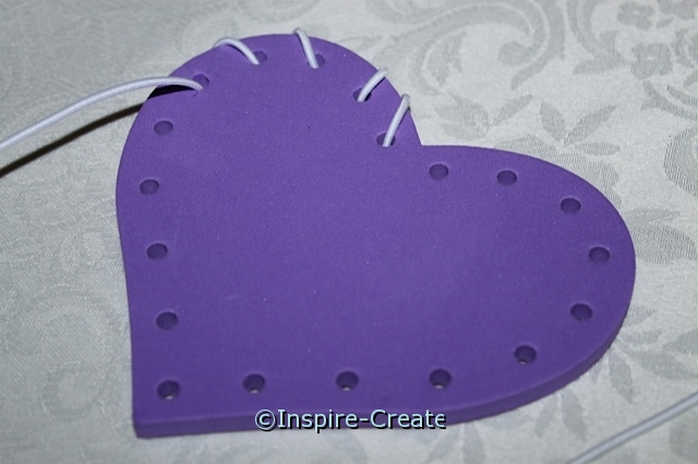 purple heart lacing activity with white cord