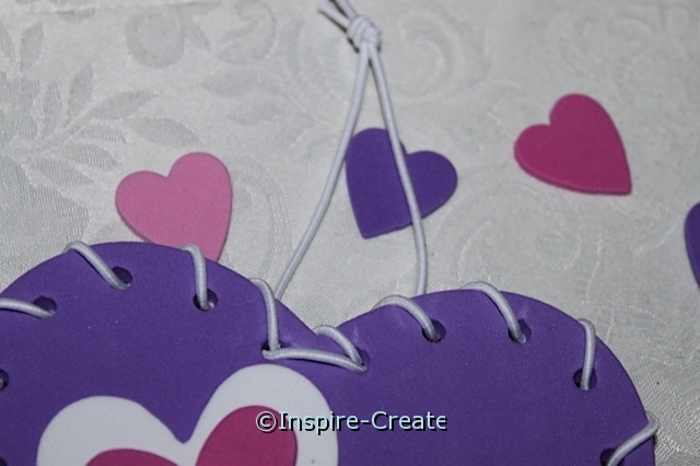 add white cord for hanging heart