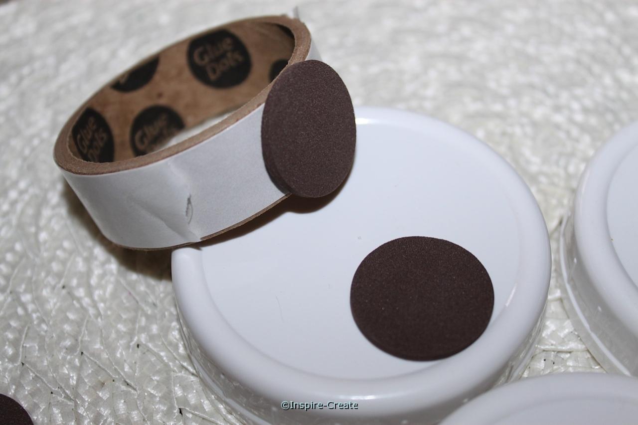 add brown foam circles with glue dots