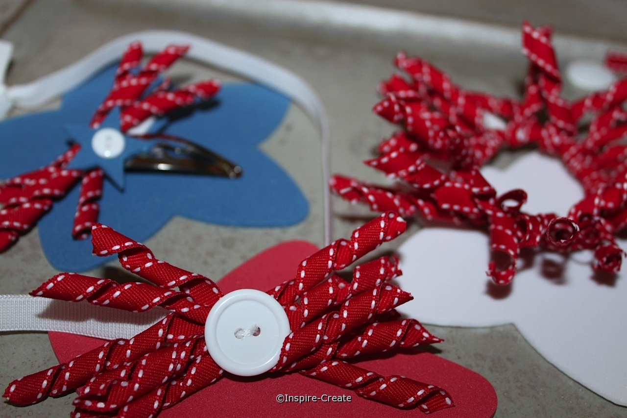 red bow with white button headband.  perfect for summer