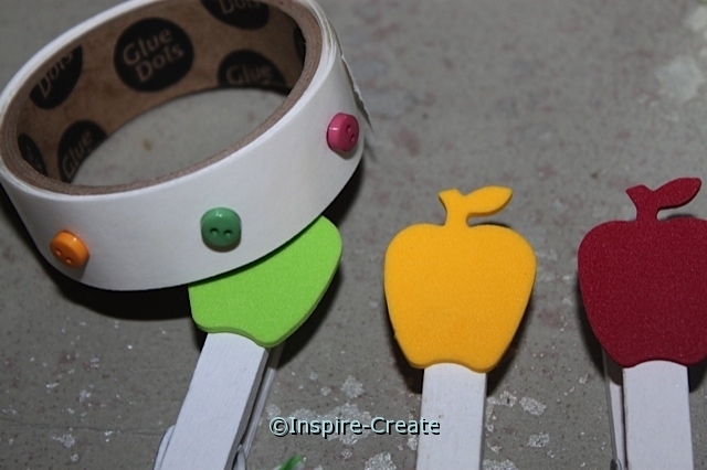 Apples Clothespins... Add Mini Buttons to Apples with Glue Dots
