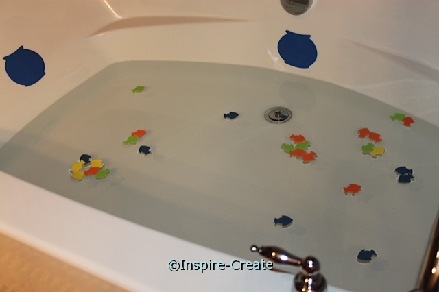 Craft Foam Shapes Float in the Bathtub