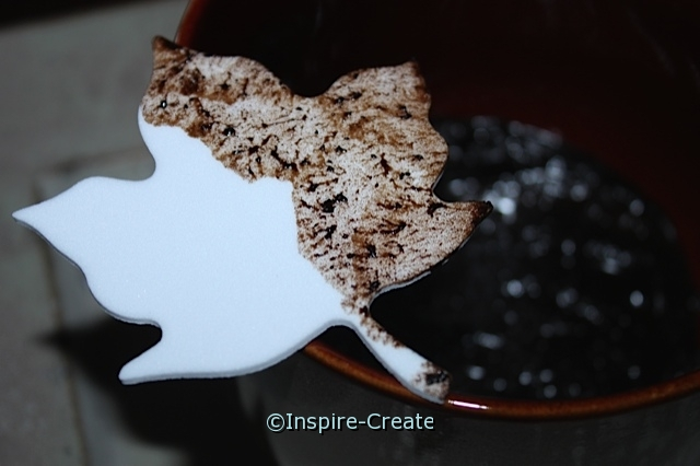 White Foam Leaf pressed into coffee grounds