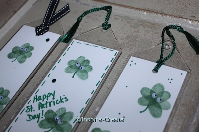 Shamrock Bookmarks...add tassels or ribbon to the top of bookmarkers.