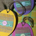 Easy Hanging Easter Eggs with Burlap Ribbon, Lace, and Craft Foam
