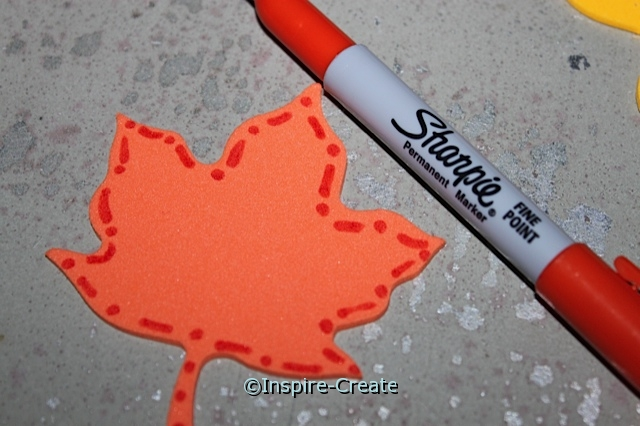 Fall Leaf Magnets.. Outline foam shapes with Sharpie Markers